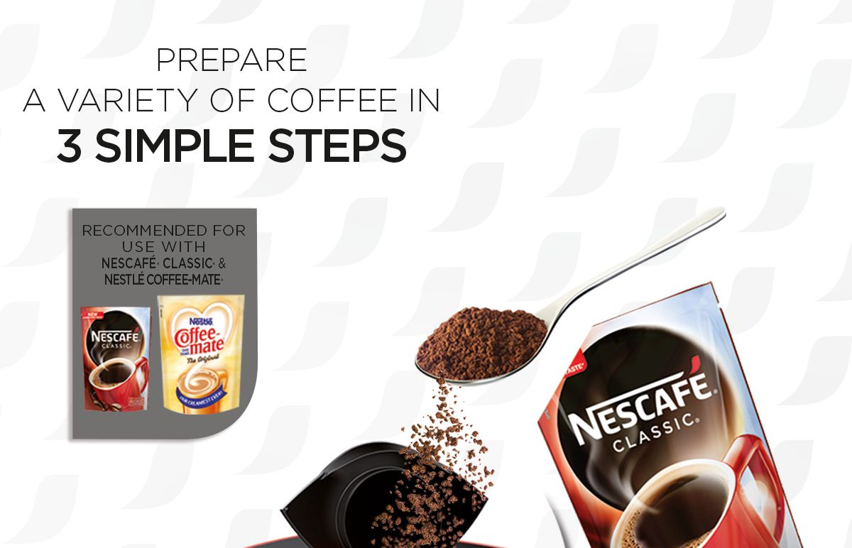 NESCAFE Red Mug Coffee Maker with FREE Transparent Glass,NescafeClassic and Nestle Coffee-mate ...
