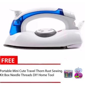 Hetian Portable Travel Mini Steam Electric Flat Iron with Free MiniCute Travel Thorn Rust sewing Kit Box Needle threads