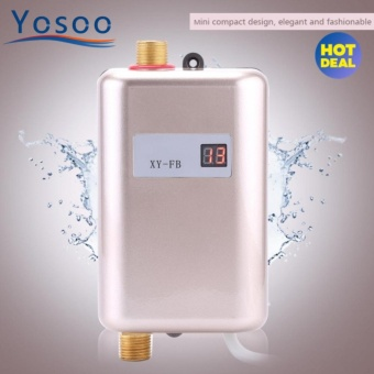 Justgogo-Mini Electric Tankless Instant Water Heater Shower Kitchen Washing 220V 3400W Golden