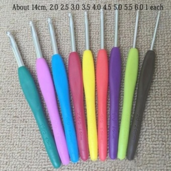 Multicolor Plastic Handle Aluminum Crochet Hooks Knit Needles -intl