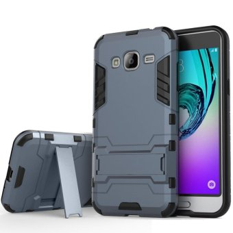 Heavy Duty Dual Layer Drop Protection Shockproof Armor Hybrid Steel Style Protective Cover Case with Self Stand for Samsung Galaxy J2 Prime - intl