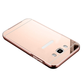 Metal Bumper Case w/ Mirror Cover for Samsung Galaxy J7 2016 (RoseGold)