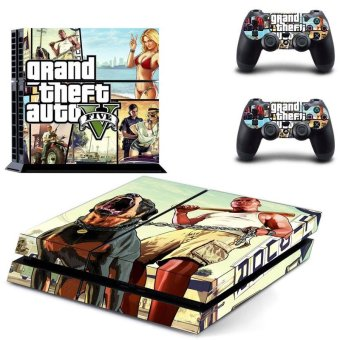 New Grand Theft Auto V GTA 5 PS4 Skin Sticker For Sony Playstation 4 PS4 Console protection film and 2Pcs Controller Protective skins - intl