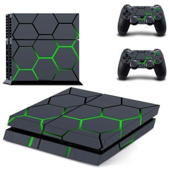 new hexagon Honeycomb lattice decal PS4 Skin Sticker For Sony Playstation 4 Console protection film +2Pcs Controllers - intl