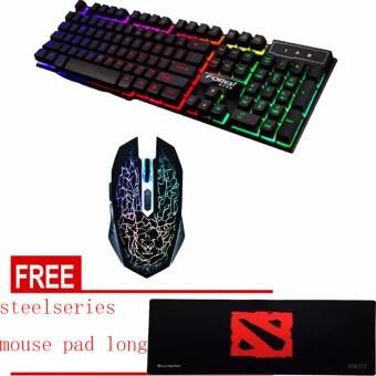 SOCUM FOREV Q1 Rainbow USB Gaming Keyboard and 6D GAMING MOUSECOMBO FREE SteelSeries Extender Gaming Mouse Pad (BLACK)
