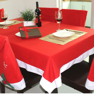 1pcs Christmas tablecloths+8pcs Xmas chair cover bags for home andkitchen decoration Santa Claus decor - intl