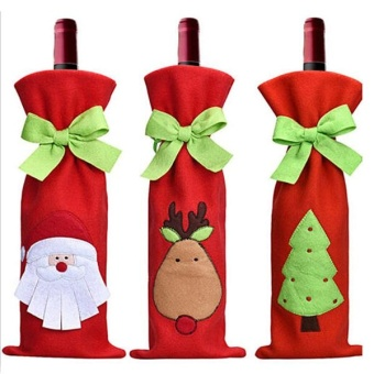 Festival Gift Party Table Decor Dinner Bottle Cover Bags Sets SantaTree Christmas Red Wine - intl