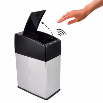 Mini Stainless Steel Garbage Touchless Automatic Car Dustbin Small Kitchen Sensor Trash Can Table Waste Bin - intl