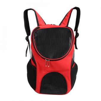 Outdoor Pet Cat Dog Backpack Travel Double Shoulder Bag(Red) - intl