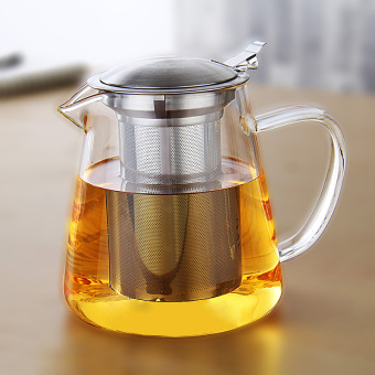 Stainless steel filter tea strainer three with a flower pot glass teapot