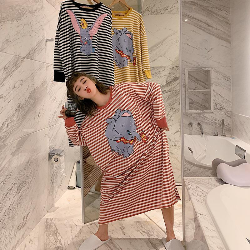 Nơi bán Nightdress Woman Long Sleeve Autumn Stripe Baby Elephant Grey Autumn New Collection Lady Lovely Pajama Round Collar Super Long Style Nightdress