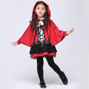 2PCS/Set Dress+Cloak Kids Cosplay Red Devil Halloween Costumes for Girls(M Size Height 105-115CM)- intl