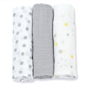 3Pcs Set Muslin Cotton Baby Swaddles Newborn Baby Blankets 70*70cmBath Towel Gray