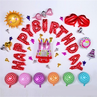 HAPPY BIRTHDAY Letters Foil Balloons For Birthday Party Decoration Red - intl