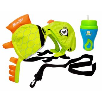 MIMIFLO CHILDREN'S SAFETY HARNESS-DINOSAUR WITH MIMIFLO #2704 NON-SPILL SILICON STRAW CUP 90Z. (B/G)