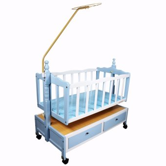 Newborn Infant Baby Wooden Crib Cradle Rocker Baby Swing 186 Blue