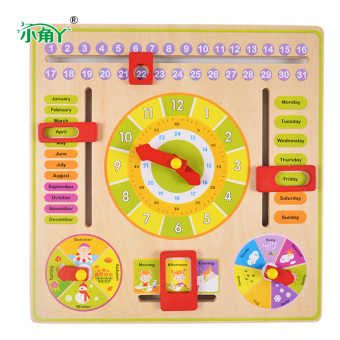 Toddlers' Early Childhood Education Wooden Multifunctional Learning Clock