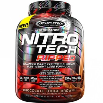 Genuine Sealed MuscleTech Nitro-Tech Ripped Powder, Advanced Whey Protein Peptides & Isolate Plus Weight Loss Fat Burner Formula, 4lbs Chocolate Fudge Brownie