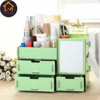 LOVE&HOME Wooden Cosmetic Make Up Jewelry Box Storage Organizer with Mirror and 3 Drawers (Green)