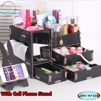 Wooden Cosmetic Make Up Jewelry Box Organizer with Cellphone Stand Black
