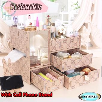 Wooden Cosmetic Make Up Jewelry Box Organizer with Cellphone StandBrown Patern
