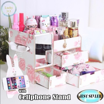 Wooden Cosmetic Make Up Jewelry Box Organizer with Cellphone StandFloral Pink