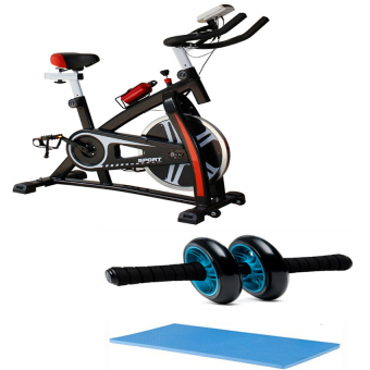 Gym Fitness Sport Equipment Spinning Bicycle Cycling Exercise Bike(Black/Red) with Abdominal Wheel Gym Exercise Roller with ExtraThick Knee Pad Mat-for Best Abs Workout-perfect Fitness Equipment
