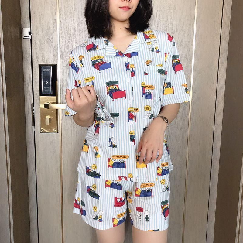 Nơi bán Snoopy Pajamas Short Sleeve Summer Korean Version Of Cardigan Cartoon Cute Casual Short Sleeve Suit