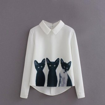 Amart Fashion Summer Women Blouse Long Sleeve 3 Cats Blending Pattern Casual Shirt