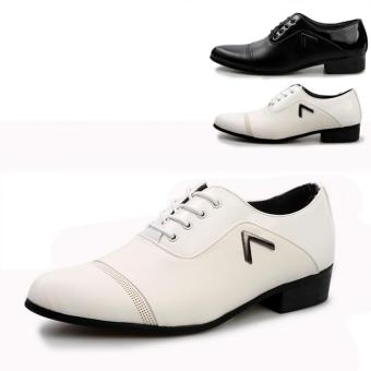 British Style Mens Casual Leather Shoes Microfiber Leather Business Shoes Men Formal Shoes White