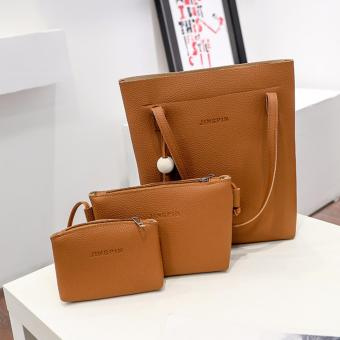 Fashion 3 in 1 Jingpin PU Leather Shoulder Bag Set (Brown)