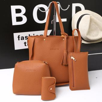 Fashion 4 in 1 Jingpin PU Leather Shoulder Bag Set (Brown)