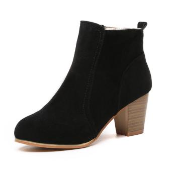 Fashion Ladies Women Girl Winter Nubuck Martin Short Boots CasualMiddle heel Shoes Black - intl