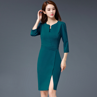 High-end autumn New style v-neck mid-length one-step skirt (Blue) (Blue)