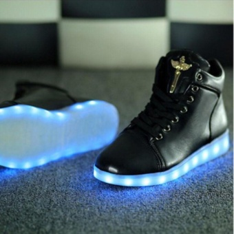 High Top New Unisex colorful LED Light Lace-Up USB Luminous Shoes Flashing Fashion Shoes Boots Black - intl