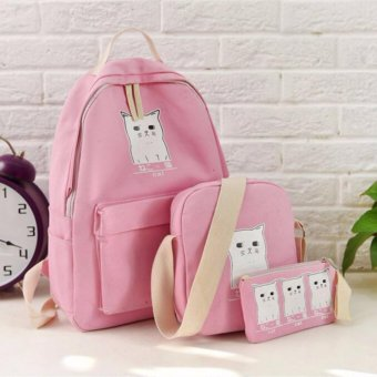 Isabel K064 Korean backpack with Sling Bag and Pouch (Pink)