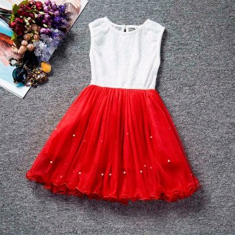 Kids Girls Dresses Children Sleeveless Party Princess Dress LaceFlower Gown Tutu Dress (Red)