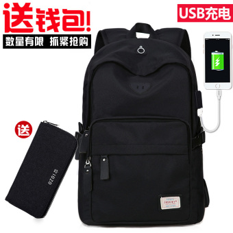 Korean-style campus high school junior high school student school bag backpack (Black (USB models + to send wallet))