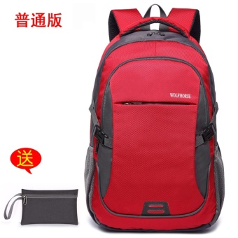 Korean-style High School Students travel bag backpack (Contrasting color red to send purse)