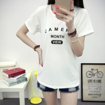 Korean-style slimming women's short sleeved t-shirt (5050 white)
