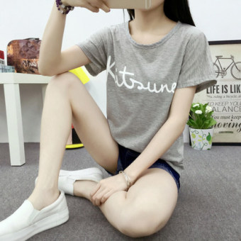 Korean-style slimming women's short sleeved t-shirt (5094 gray)