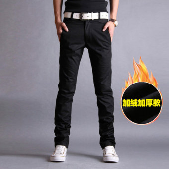 Korean-style Spring Autumn New style men's casual pants (Black (Plus velvet thick))