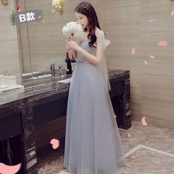 Korean style winter New style bridesmaid dress ([168 long] gray B Section)