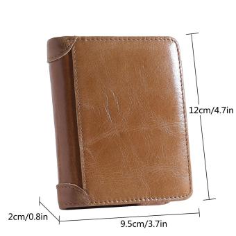 leegoal FOONEE Men's Genuine Leather Wallet,First Layer Bifold Oil Wax Wallet Dermis Leather Wallet , Khaki - intl