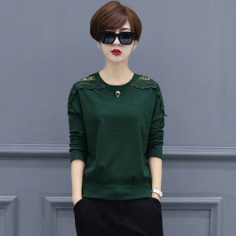 Loose Korean-style mesh solid porous thick long-sleeved t-shirt base shirt (Dark green color)