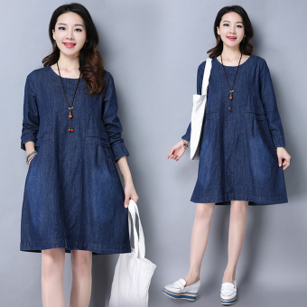 Loose Korean-style spring New style Women's Plus-sized cowboy dress