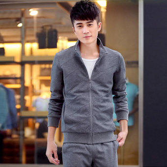 Male Spring and Autumn long-sleeved hoodie running sportswear suit (Dark gray color)