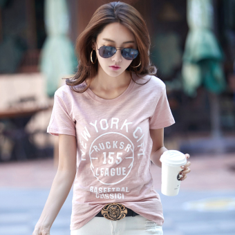 Meiyulequ Korean-style slub cotton new lettered T-shirt (Pink) (Pink)