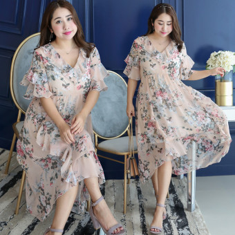 MM Korean-style New style long section Plus-sized chiffon dress