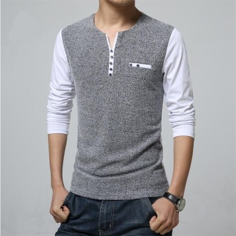 New Spring Men Shirt V-Neck Slim Fit Long Sleeve Shirts MensClothing High Quality Casual Tee tops Homme Size Plus size (White)- intl